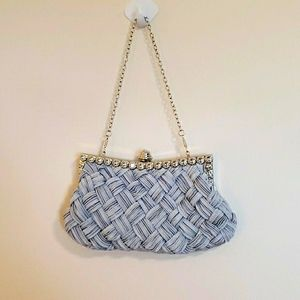 Cloth silver weaved evening bag- silver hardware